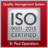 ISO 9001:2015 Certified - Quality Management System - Saint Paul Operations